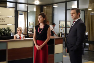 Annaleigh Ashford as Betty, Lizzy Caplan as Virginia Johnson and Michael Sheen as Dr. William Masters in Masters of Sex (season 3, episode 12) - Photo: Michael Desmond/SHOWTIME Photo ID: MastersofSex_312_0212